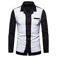 Erkek Keten İnce - Gömlek Kırk Yama, Solid / Zıt Renkli İş / Temel Çalışma / Kulüp Turuncu L / Uzun Kollu