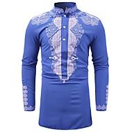 Opprett krage Skjorte Herre - Geometrisk, Trykt mønster Vintage / Grunnleggende Blå XL / Langermet