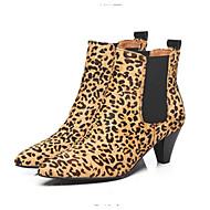 tanie Obuwie damskie-Damskie Fashion Boots Zamsz Jesień Botki Niski obcas Buty zamknięte Kozaczki / kozaki do kostki Czarny / Panterka