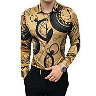 저렴한 -남성용 기하학 클래식 카라 슬림 셔츠, 사치 / 빈티지 파티 / 작동 / 클럽 골드 XXL / 긴 소매 / 가을