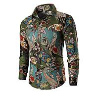 Homens Camisa Social Vintage / Básico Estampa Colorida Algodão Verde XL / Manga Longa