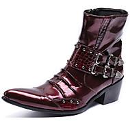 tanie Obuwie męskie-Męskie Fashion Boots Skóra nappa Zima W stylu brytyjskim Botki Zatrzymujący ciepło Kozaczki / kozaki do kostki Czarny / Wino / Impreza / bankiet