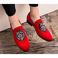 Bărbați Pantofi de confort Piele de Căprioară Vară Mocasini & Balerini Negru / Rosu