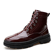 cheap Men's Boots-Men's Fashion Boots Patent Leather Winter Casual Boots Breathable Mid-Calf Boots Black / Wine