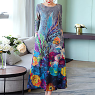 baratos -Mulheres Tamanhos Grandes Para Noite Algodão Solto Túnicas Vestido - Estampado, Floral Longo
