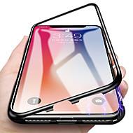 رخيصةأون حافظات الجوال & واقيات الشاشات-غطاء من أجل Apple iPhone X / iPhone 7 شبه شفّاف / مغناطيس غطاء كامل للجسم لون سادة قاسي زجاج مقوى / معدن إلى iPhone X / iPhone 8 Plus / iPhone 8