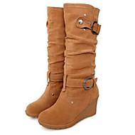 Női Fashion Boots Fordított bőr Ősz & tél Csizmák Ék sarkú Kerek orrú Hosszú szárú csizmák Sárga / Piros / Zöld