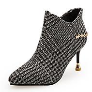 abordables -Mujer Fashion Boots PU Otoño invierno Minimalismo Botas Tacón Stiletto Dedo Puntiagudo Botines / Hasta el Tobillo Gris / Caqui / Fiesta y Noche