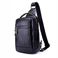 laoshizi men's çanta deri askılı omuz çantası fermuarlı düz renk siyah / kahverengi