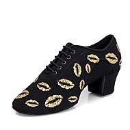 Kadın's Modern Dans Ayakkabıları Kanvas Topuklular Kalın Topuk Kişiselleştirilmiş Dans Ayakkabıları Siyah ve Altın / Siyah / Kırmızı