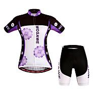 WOSAWE สำหรับผู้หญิง แขนสั้น Cycling Jersey with Shorts - สีม่วง ลวดลายดอกไม้ / เกี่ยวกับพฤษศาสตร์ จักรยาน กางเกงขาสั้น เสื้อยืด แป้นสั้น กันลม ระบายอากาศ 3D Pad แห้งเร็ว กีฬา / สแปนเด็กซ์ / ขั้นสูง