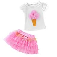 Çocuklar / Toddler Genç Kız Actif / Temel Günlük / Okul Kırk Yama Kısa Kollu Normal Normal Pamuklu / Polyester Kıyafet Seti Yonca