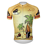 ILPALADINO Men's Short Sleeve Cycling Jersey - Brown Animal Cartoon Bike Jersey Top Breathable Quick Dry Ultraviolet Resistant Sports 100% Polyester Mountain Bike MTB Road Bike Cycling Clothing