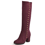olcso -Női Fashion Boots Fordított bőr Ősz & tél Csizmák Vaskosabb sarok Kerek orrú Hosszú szárú csizmák Fekete / Kék / Bor