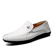 baratos Sapatos de Tamanho Pequeno-Homens Sapatos Confortáveis Couro Envernizado Outono Casual Mocassins e Slip-Ons Respirável Branco / Preto / Amarelo / Festas & Noite