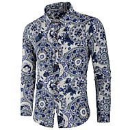 Heren Standaard Print Overhemd Katoen Bloemen / Kleurenblok Slank Wit XL / Lange mouw
