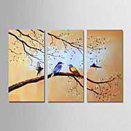 billiga Blom-/växtmålningar-Hang målad oljemålning HANDMÅLAD - Landskap / Blommig / Botanisk Traditionell Duk / Tre paneler