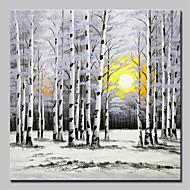 billiga Landskapsmålningar-Hang målad oljemålning HANDMÅLAD - Landskap / Blommig / Botanisk Moderna Inkludera innerram / Sträckt kanfas