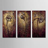 billiga Oljemålningar-Hang målad oljemålning HANDMÅLAD - Abstrakt / Blommig / Botanisk Moderna Duk / Tre paneler