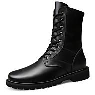baratos Sapatos Masculinos-Homens Coturnos Couro / Pele Outono & inverno Vintage / Formais Botas Manter Quente Botas Cano Médio Preto