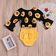 Baby Mädchen Aktiv / Grundlegend Ausgehen / Strand Druck Druck Langarm Kurz Kurz Baumwolle / Polyester Kleidungs Set Gelb