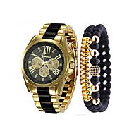 בגדי ריקוד גברים שעון יד קווארץ מתכת אל חלד שחור / לבן / כחול כרונוגרף שעונים יום יומיים מגניב אנלוגי פאר צמיד - שחור בז' כחול שנה אחת חיי סוללה / צג גדול