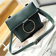 baratos Bolsas de Ombro-Mulheres Bolsas PU Bolsa de Ombro Botões Cinzento / Verde Escuro / Marron