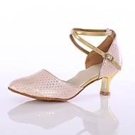 billige Kustomiserte dansesko-Dame Moderne sko Fuskelær Høye hæler Tvinning Kubansk hæl Kan spesialtilpasses Dansesko Rosa