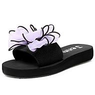 baratos Sapatos Femininos-Mulheres Sapatos Confortáveis Tecido elástico Verão Sandálias Sem Salto Vermelho / Azul / Rosa claro