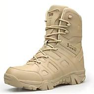 رجالي أحذية الراحة مجهرية الشتاء كتب جزمات متوسطة أسود / لون الجمل