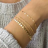 4pcs Γυναικεία ID Βραχιόλι Σύνδεσμος / Αλυσίδα Λεπτοκαμωμένος κυρίες Μοντέρνο Κομψό Λεπτός Κράμα Βραχιόλι Κοσμήματα Χρυσό Για Καθημερινά Δουλειά
