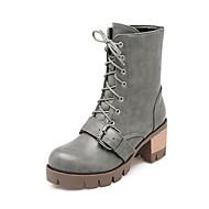 baratos Sapatos Femininos-Mulheres Sapatos Confortáveis Couro Ecológico Outono & inverno Botas Salto de bloco Preto / Cinzento / Amarelo Claro