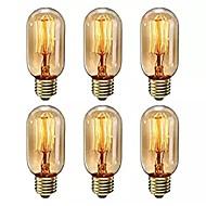 billige Glødelampe-6pcs 40 W E26 / E27 T45 Varm hvit 2200-2800 k Kontor / Bedrift / Mulighet for demping / Dekorativ Glødende Vintage Edison lyspære 220-240 V