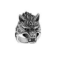 Ανδρικά Χαραγμένο Band Ring Τιτάνιο Ατσάλι Κεφάλι λύκου Τατουάζ Βίντατζ Λολίτα Guro Rococo Μοδάτο Δαχτυλίδι Κοσμήματα Ασημί Για Halloween Απόκριες 7 / 8 / 9 / 10 / 11