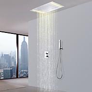 billige Rabatt Kraner-Dusjkran - Moderne Krom Dusjsystem Keramisk Ventil Bath Shower Mixer Taps / Messing / To Håndtak tre hull
