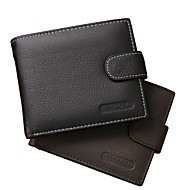 cheap Wallets-Men's Bags Nappa Leather Wallet Embossed Solid Color Black / Brown