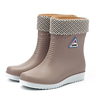 cheap -Women's Rain Boots Polyester / PVC(Polyvinyl chloride) Fall & Winter Casual Boots Flat Heel Round Toe Mid-Calf Boots Beige / Blue / Wine
