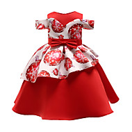子供 / 幼児 女の子 活発的 / 甘い パーティー / 祝日 パッチワーク プリント 半袖 膝丈 ドレス ルビーレッド