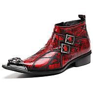 billige Herresko-Herre Fashion Boots Nappalæder Vinter Britisk Støvler Hold Varm Ankelstøvler Vin / Fest / aften