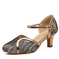 billige Moderne sko-Dame Moderne sko Syntetisk Høye hæler Spenne / Sided Hollow Out Kubansk hæl Dansesko Gull / Svart
