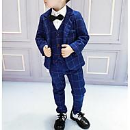 Děti Chlapecké Základní Kostičky Dlouhý rukáv Bavlna / Polyester Sady oblečení Vodní modrá