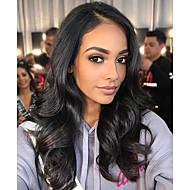 Aidot hiukset Lace Front Peruukki Epäsymmetrinen leikkaus Kardashian tyyli Intialainen Runsaat laineet Luonto musta Peruukki 130% Hiusten tiheys ja vauvan hiukset Luonnollinen Paras laatu Tulokas