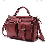 cheap Satchels-Women's Bags Cowhide Satchel Buttons / Zipper Solid Color Gray / Brown