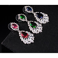 Women's Multicolor AAA Cubic Zirconia Beaded Dangle Earrings Rhinestone Earrings Pear Ladies Stylish Dangling Elegant Jewelry Fuchsia / Green / Blue For Wedding Evening Party Masquerade Engagement