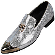 baratos Sapatos Masculinos-Homens Sapatos formais Pele Napa Outono Formais Mocassins e Slip-Ons Não escorregar Dourado / Prata / Festas & Noite