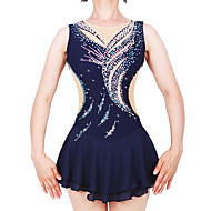 cheap -Figure Skating Dress Women's / Girls' Ice Skating Dress Dark Blue Spandex, Stretch Yarn High Elasticity Professional / Competition Skating Wear Handmade Fashion Sleeveless Ice Skating / Winter Sports