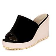 Women's Comfort Shoes Suede Summer Sandals Wedge Heel Black / Blue / Pink