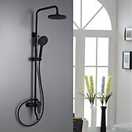 billiga Duschkranar-Duschkran - Traditionell Målad Finishes Duschsystem Keramisk Ventil Bath Shower Mixer Taps / Mässing / Enda handtag tre hål