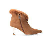 baratos Sapatos Femininos-Mulheres Fashion Boots Camurça / Pele Inverno Botas Salto Agulha Dedo Fechado Botas Curtas / Ankle Penas Preto / Castanho Escuro / Nú