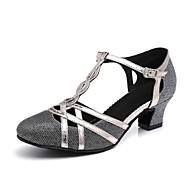 Per donna Sintetico Scarpe per danza moderna Fibbia / Sided Hollow Out Tacchi Tacco spesso Oro / Nero / Grigio argento / Prestazioni / Da allenamento